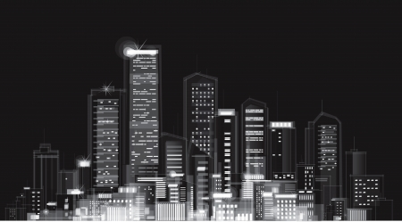 Vector of night city skyline  Stock Vector - 14347394