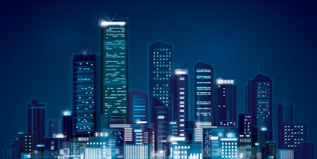 촉각 근: 밤 도시의 스카이 라인의 벡터