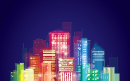 city lights: Vector of night city skyline