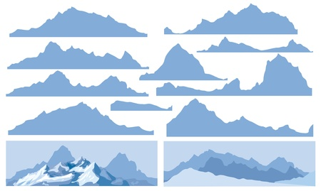 Silhouettes of mountain for design, all elements of rocks are seamless  Vector