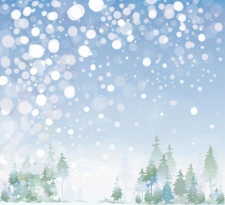 Vector de paisaje de invierno. Ilustración de vector