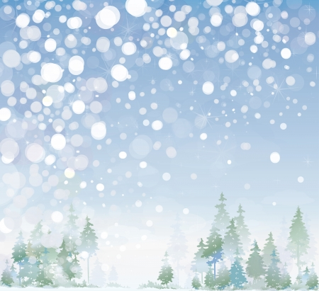 winter scene: Vector of winter landscape.