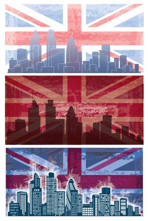 london night: British flag grunge background  with London city on