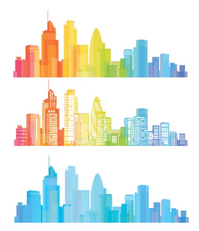 colorful London skyline Illustration