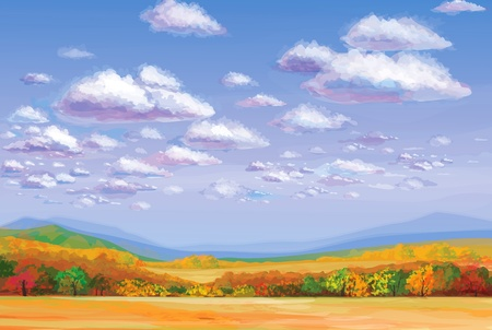 panoramic sky: autumn landscape