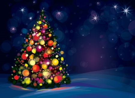 sparkly: Christmas tree and decorations on winter background