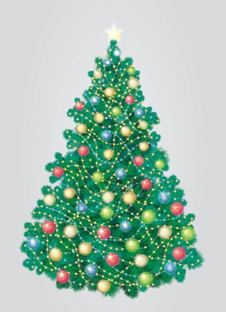 Christmas tree, grey background is in separated layer Stock Vector - 15302906