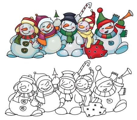 Fun snowmen for Christmas  design Stock Vector - 15597378