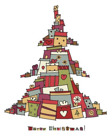 Christmas tree shape made from colorful gifts Stock Vector - 15597377