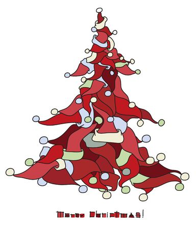 Christmas tree shape made from Santa s hats Stock Vector - 15597374