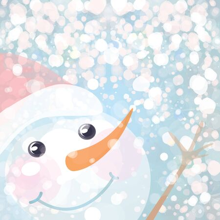 Snowman and snowfall  Vector