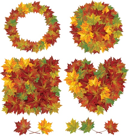 Elements of different shapes made from autumnal leaves Stock Vector - 15773891