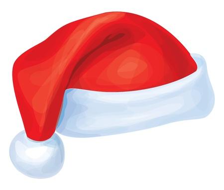 santa cap: Vector of red Santa Claus hat   Illustration