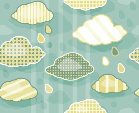 Seamless cute pattern of sky with clouds  Vector