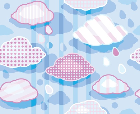 cloudburst: Seamless cute pattern of sky with clouds  Illustration