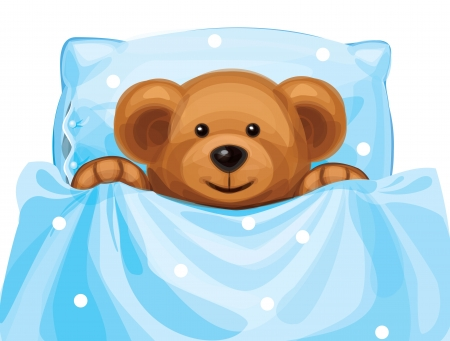 cute baby bear in bed Stock Vector - 15773976