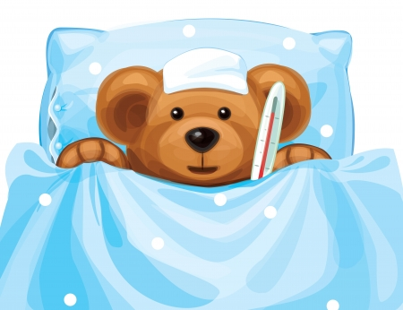 baby sick: sick baby bear with thermometer in bed   Illustration