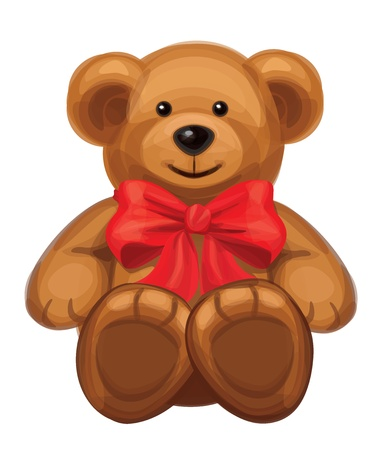 cute brown bear with red bow Stock Vector - 15773979