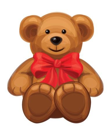 osos de peluche: lindo oso marrón con lazo rojo