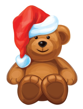 teddy bear christmas: fun brown bear in red Santa s hat