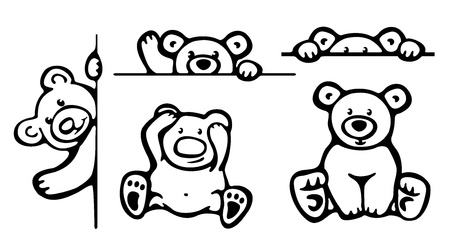 line drawings: Silhouettes of funny bears   Illustration