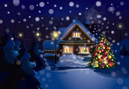 Vector van Christmas scene, sneeuwval is in gescheiden laag