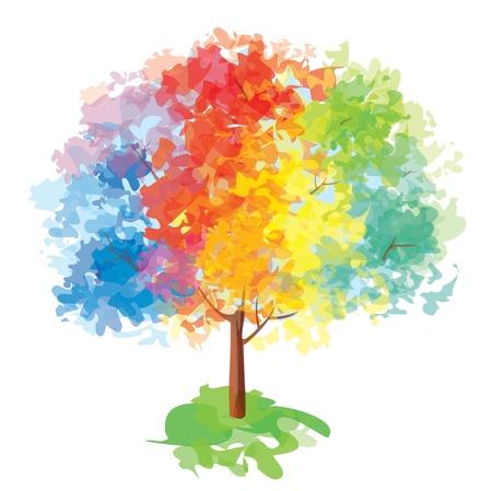 Vector del árbol colorido abstracto