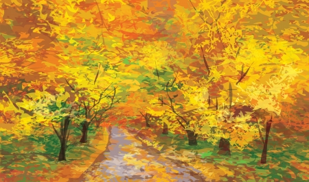 Vector of autumn landscape, pathway in park Stock Vector - 15841390