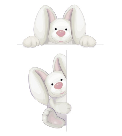 cute rabbits isolated Vector