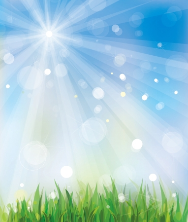 Vector of spring background,sky and grass Stock Vector - 17207842