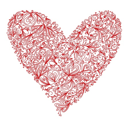red heart shape covered floral pattern Stock Vector - 17220944