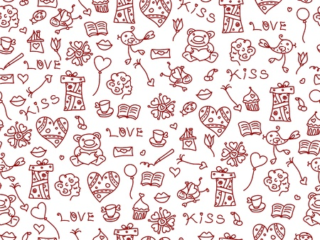 Seamless pattern of love symbols  Stock Vector - 17220943