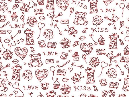 Seamless pattern of love symbols Stock Vector - 17220943
