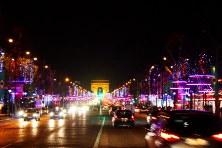 blured: Night lights of Paris,Champs Elysees