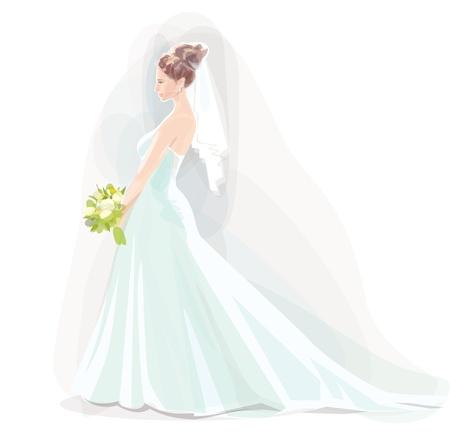 silhouette of bride:  beautiful bride Illustration