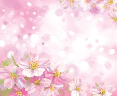 Wektor drzewa kwitnących wiosną z różowym tle