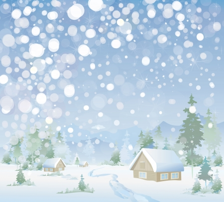 snow field: Winter landscape Illustration