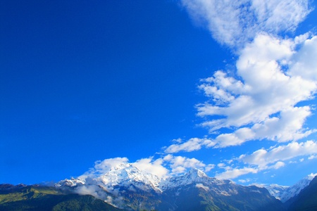 Himalayan mountains, blue sky and clouds Stock Photo - 18195723