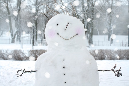 Fun snowman in park