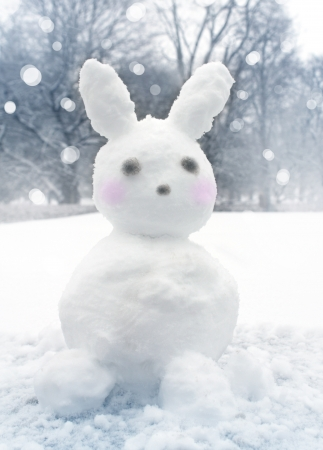 Fun snowy rabbit in park