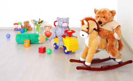 soft toy: Toys in kidsroom Stock Photo