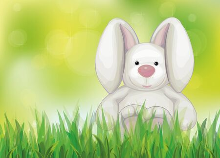 Vector of spring background  with rabbit in  green grass Stock Vector - 18422640