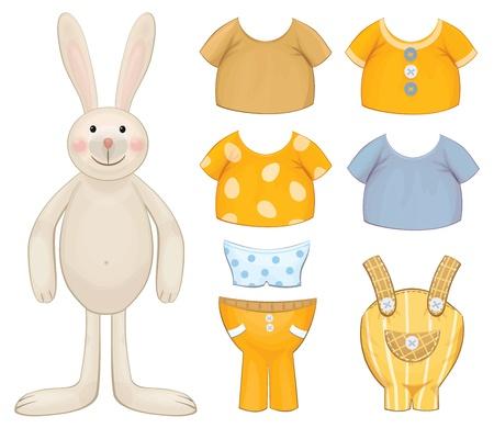 Dress up bunny template  Vector