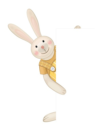 Cute rabbit hiding by blank  Vector