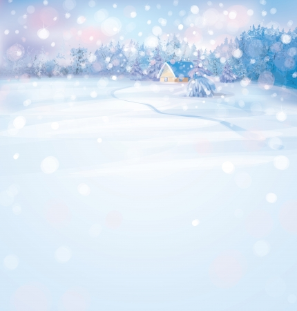 kârlı: Ormanda ev ile vektör kış karlı manzara