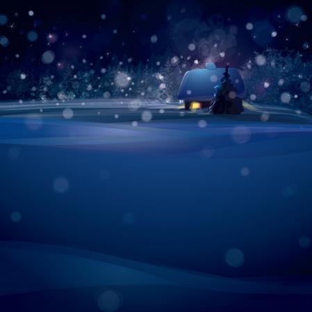 kârlı: Ormanda ev ile kış manzara.