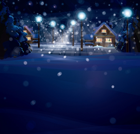 night scenery: winter landscape. Merry Christmas!