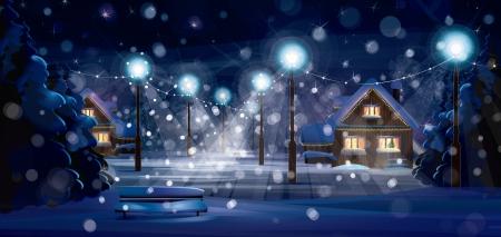 paisaje: Vector del paisaje invernal. ¡Feliz Navidad!