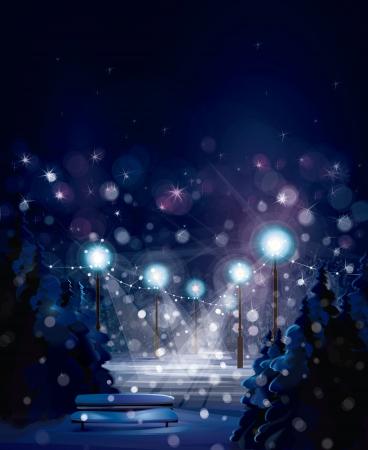 winter card: Vector winter landscape  Merry Christmas