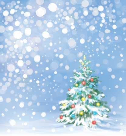 Christmas tree and decorations on winter background  Vector